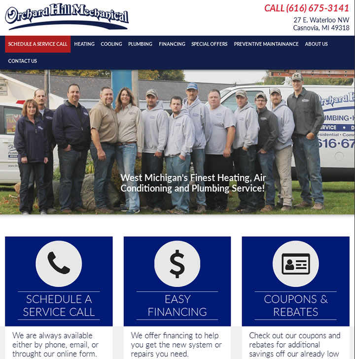 Websites for air conditioning heating and plumbing company in Casnovia Michigan.
