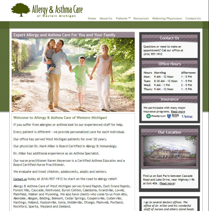 Medical website design for an asthma and allergy office located in Grand Rapids, MI