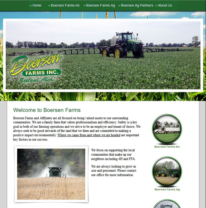 Agricultural website created for a large farming operation in Zeeland Michigan.