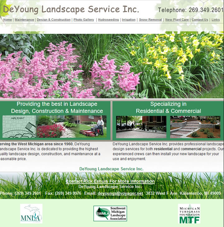 Web Site Design in Kalamazoo for landscaping services in Kalamazoo Michigan.