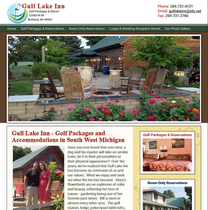 A fantastic hotel and resort website in Gull Lake Michigan.