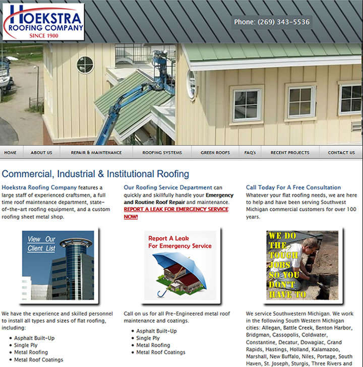 Responsive mobile websites for large roofing contractor company.