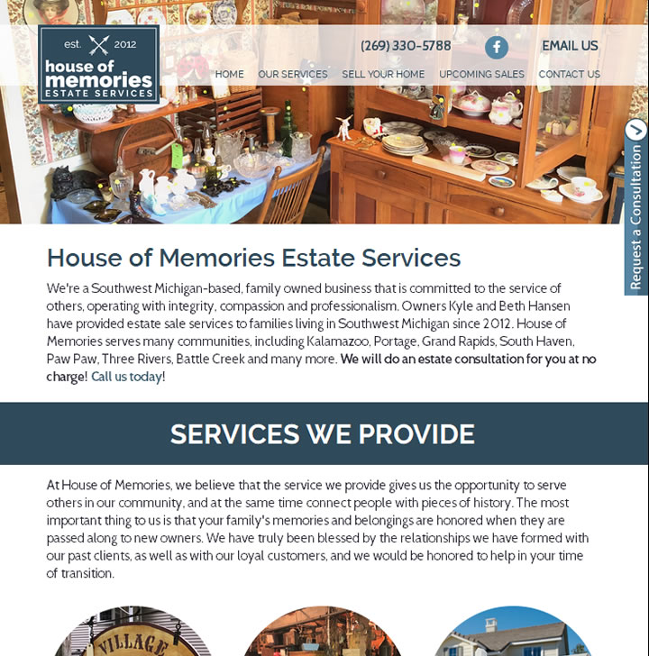 Website marketing Kalamazoo and Grand Rapids estate sales