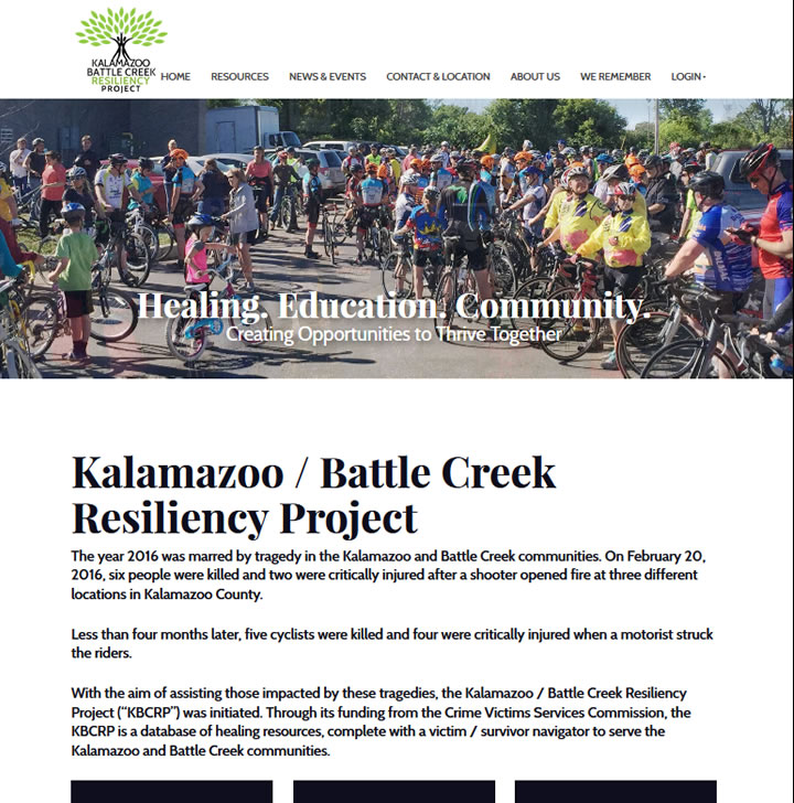 Website example showing bicyclists in Kalamazoo.