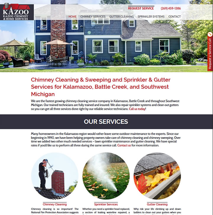 Website example showing home with chimney and gutters