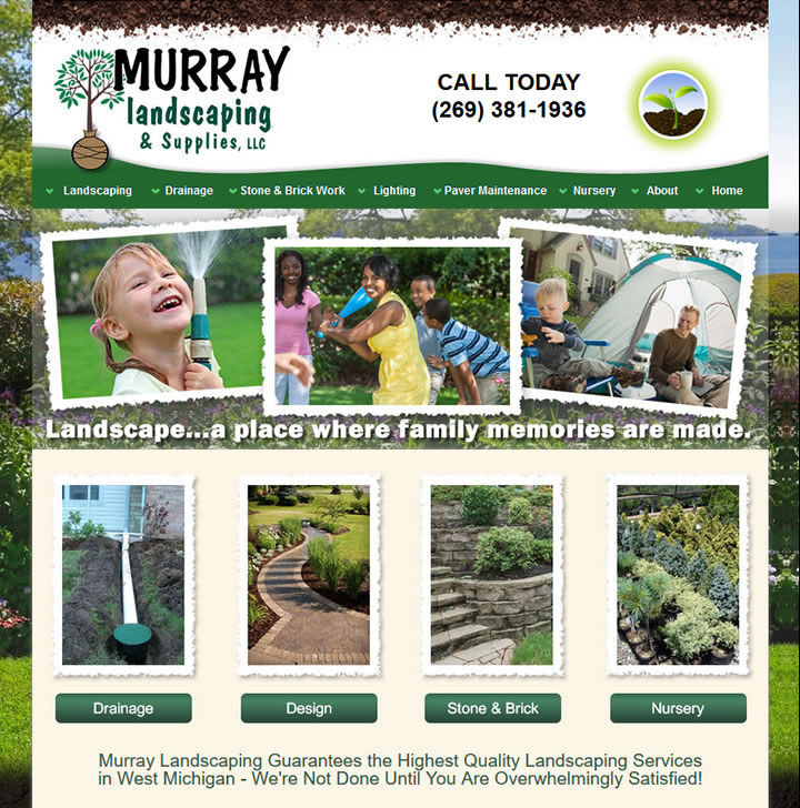 Website development for landscaping and nursery servies in Kalamazoo Michigan.