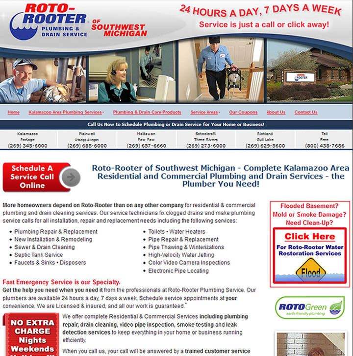 Professional website for the West Michigan Roto Rooter division franchise.