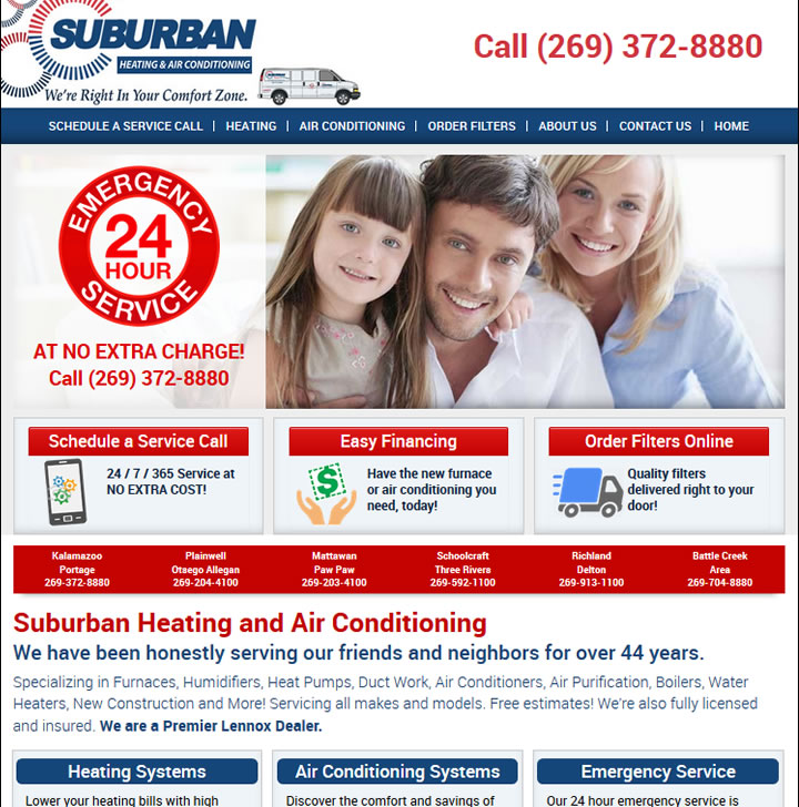 Michigan heating and cooling company website example.