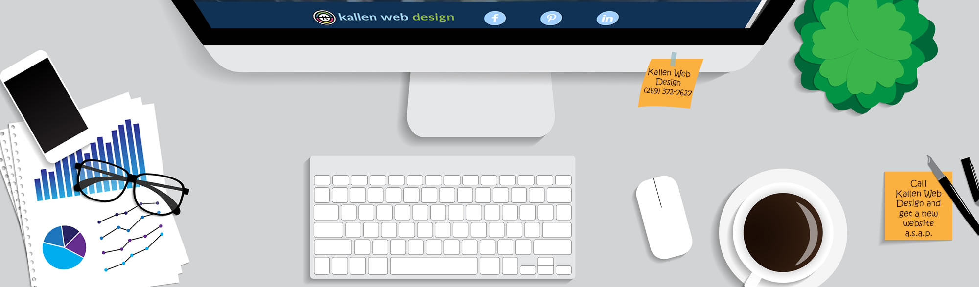 Image showing desktop items highlighting the need to call Kallen Web Design for the best web development in Kalamazoo.