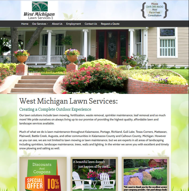 Website development for lawn care services in West Michigan.